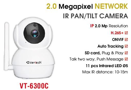 Camera IP hồng ngoại không dây 2.0 Megapixel VANTECH VT-6300C