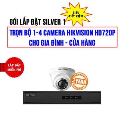 Trọn bộ 1-4 camera Hikvision HD720P cho Cửa Hàng – Gia Đình (Gói Silver 1)