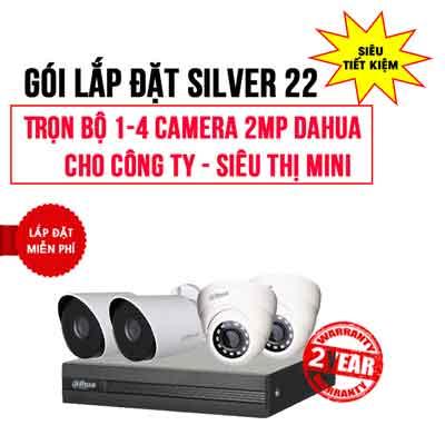 Trọn bộ 1-4 camera DAHUA 2MP cho Công ty – Siêu thị mini (Gói Silver 22)