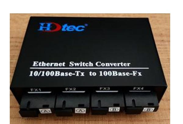 Bộ chuyển đổi Kết hợp HDTEC 4 cấp Quang 4 RJ45 RJ45 100Mbps