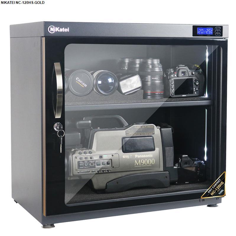 Tủ chống ẩm chuyên dụng Nikatei NC-120HS viền nhôm mạ vàng (120 lít)