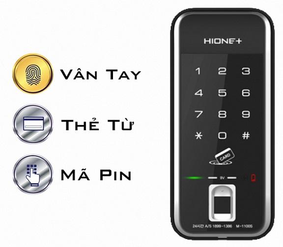 Khóa cửa điện tử cao cấp dùng vân tay, mã pin và thẻ từ HIONE+ M-1190S