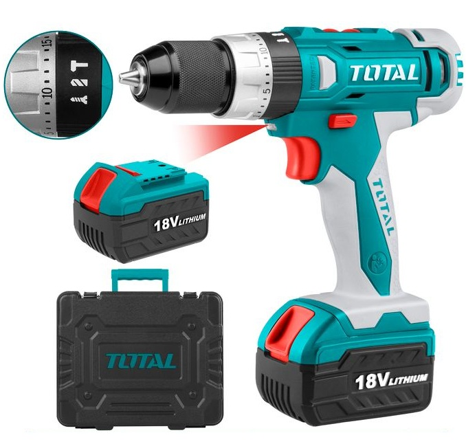 Concrete drill uses TOTAL TIDLI228180 battery