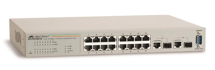 WebSmart Ethernet nhanh 16 cổng 10 / 100TX Chuyển đổi điện thoại ALLIED AT-FS750 / 16