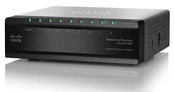 8-Port 10/100 / 1000Mbps Gigabit PoE Smart Switch Cisco SG200-08P