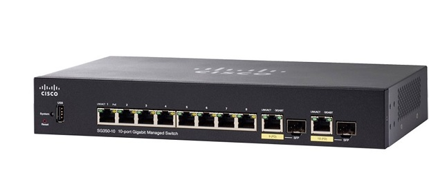 10-Port Gigabit Managed Switch CISCO SG350-10-K9-EU