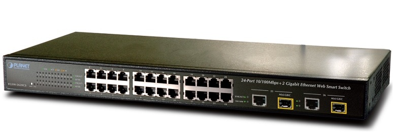 24-Port 10 / 100Mbps + 2 Gigabit TP / FP Combo Web Smart Switch PLANET FGSW-2620CS