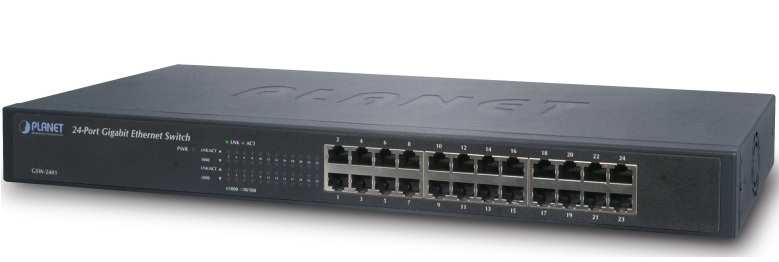 24-Port 10/100 / 1000Mbps Gigabit Ethernet PLANET Switch GSW-2401