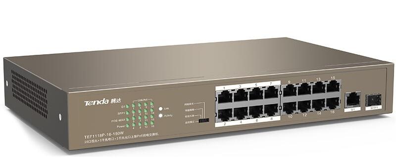 Chuyển đổi 16 cổng PoE 10 / 100Mbps + 1 Gigabit / SFP TENDA TEF1118P