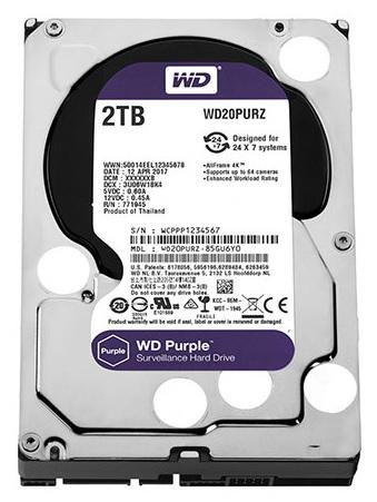 2TB WESTERN PURPLE WD20PURZ dedicated hard drive