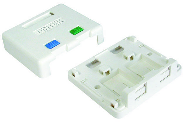 Ổ mạng nổi 2 port Dintek - Surface mount box (1301-02013)