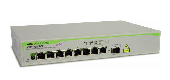 8-port 10 / 100TX Unmanaged PoE Switch ALLIED TELESIS AT-FS708 / POE