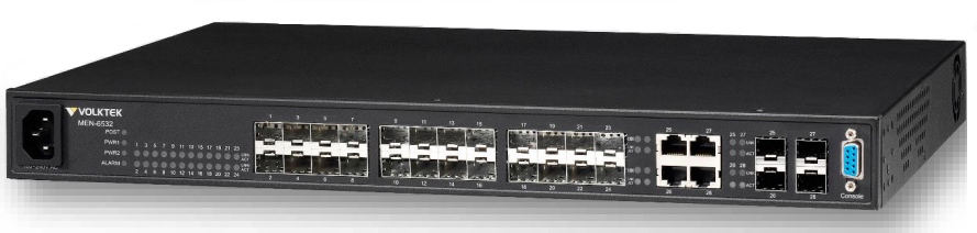 24 SFP slot 10 / 100Base-FX + 4 SFP slot Gigabit Managed Switch VolkTek MEN-6532D