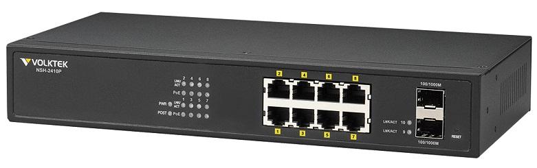 8 Port PoE + 2 SFP Switch VolkTek NSH-2410P