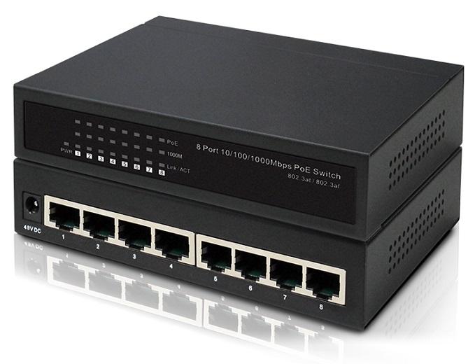 8-Port Gigabit 10/100 / 1000Mbps PoE IONNET IGE-808 Switch (65 Watt)