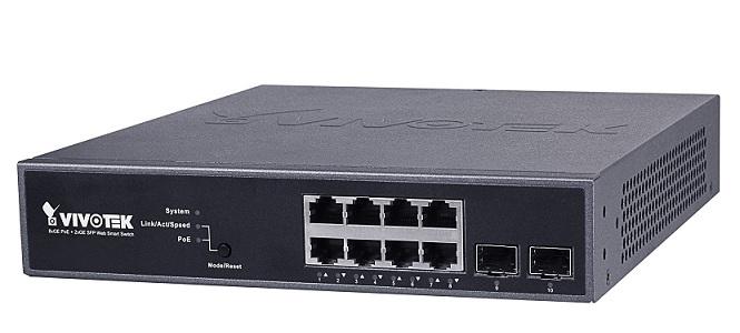 8xGE PoE + 2xGE SFP Smart Managed Switch Vivotek AW-GEV-104B-130