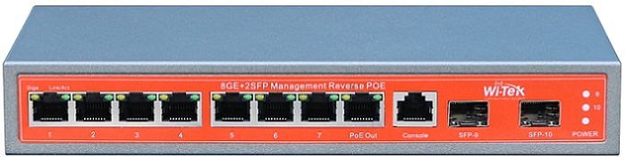 8GE + Full Gigabit 2SFP 48V PoE Switch WITEK WI-PMS310GF