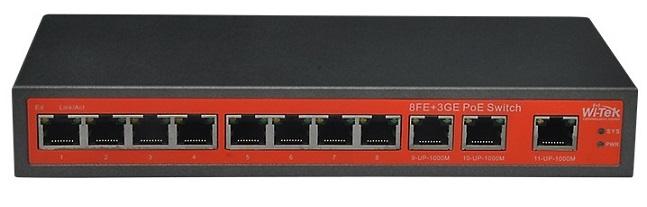 8 ports 10 / 100Mbps + 3 ports 100 / 1000Mbps PoE Switch WITEK WI-PS211G