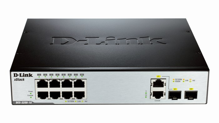 8-Port Smart Switch + 2 Slot SFP D-Link DES-3200-10