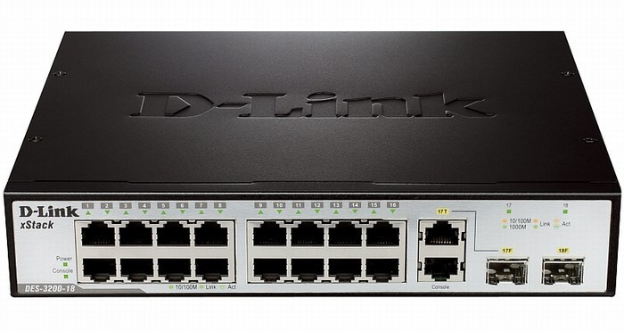16-Port Smart Switch + 2 SFP D-Link DES-3200-18 slots
