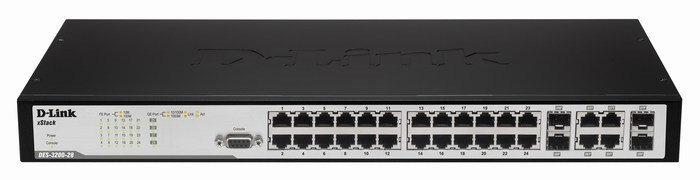 24-Port PoE Smart Switch + 4 Slot SFP D-Link DES-3200-28P