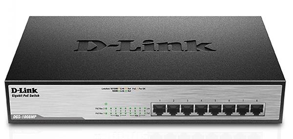 8-Port Desktop Gigabit PoE + D-Link DGS-1008MP Switch