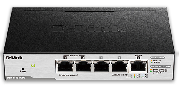 5-Port Gigabit Smart Managed Desktop Switch, PoE Powered, PoE Pass-through D-Link DGS-1100-05PD