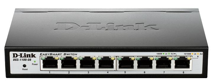 8 Port PoE Gigabit Smart Switch D-Link DGS-1100-08P