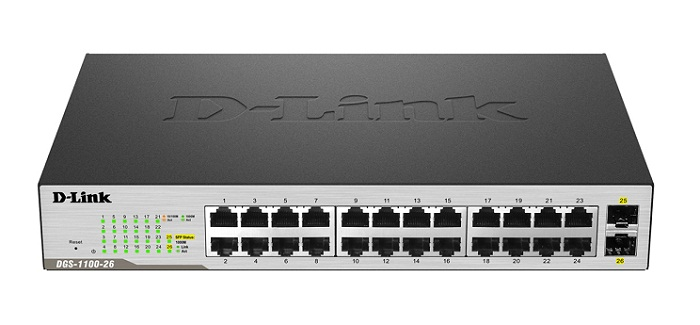 24 Port 10/100 / 1000Mbps + 2 SFP 1000Mbps Gigabit Smart Switch D-Link DGS-1100-26