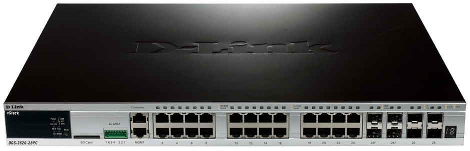 52-Port Layer 3 Stackable Managed Gigabit Switch D-Link DGS-3620-28PC / ESI