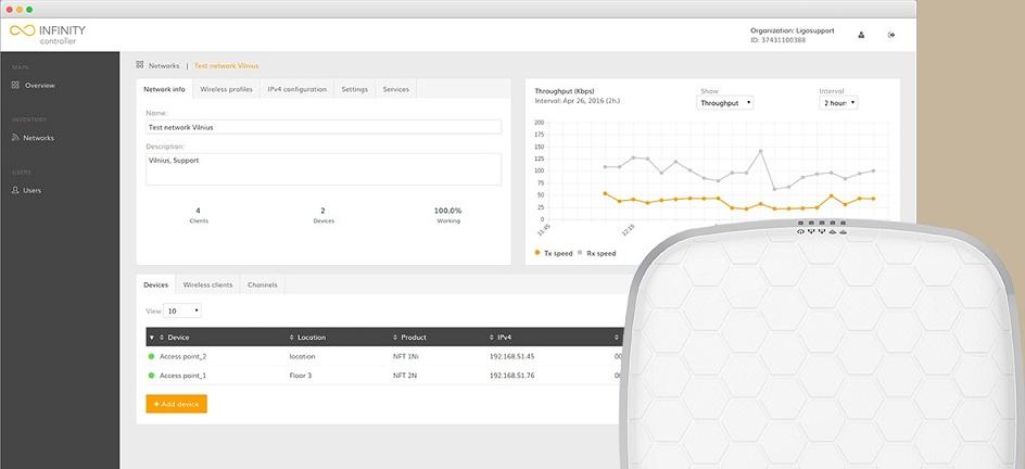 Phần mềm quản lý mạng không dây LigoWave Infinity Controller