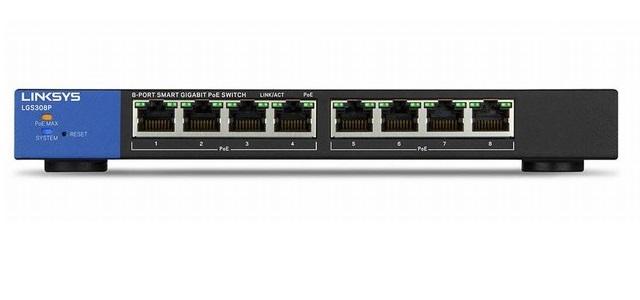 8-Port Business Smart Gigabit PoE+ Switch LINKSYS LGS308P