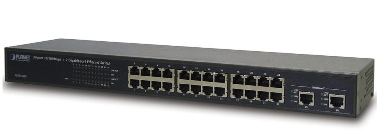24-Port 10 / 100Mbps + 2-port Gigabit Ethernet Switch PLANET FGSW-2620
