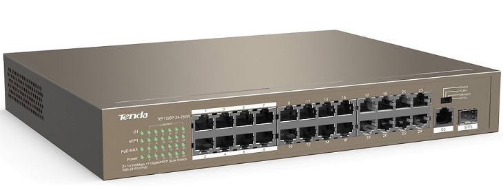 24-port 10 / 100Mbps +1 GE / SFP Slot PoE Switch TENDA TEF1126P