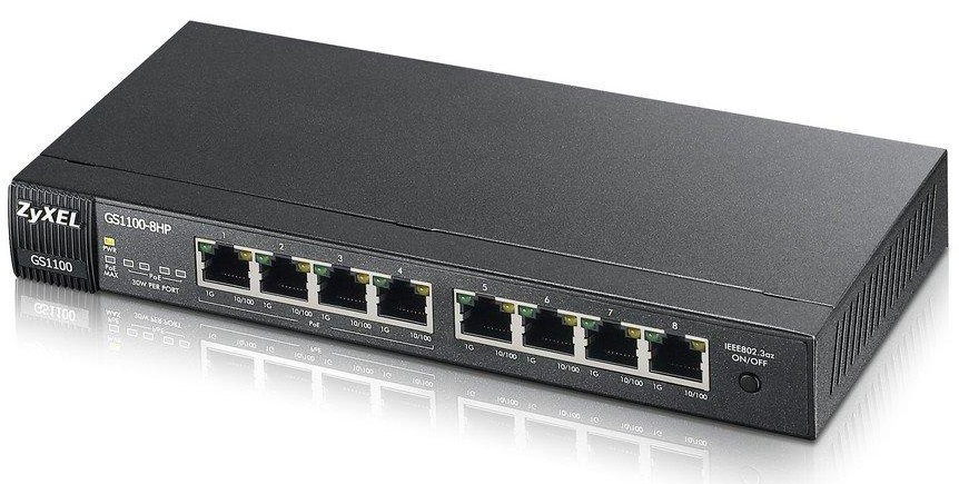 8-port GbE Unmanaged PoE Switch ZyXEL GS1100-8HP