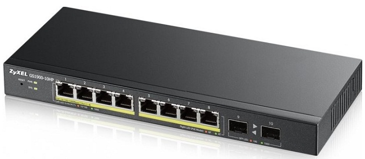8-port Smart Managed PoE + 2 SFP PoE Switch ZyXEL GS1900-10HP