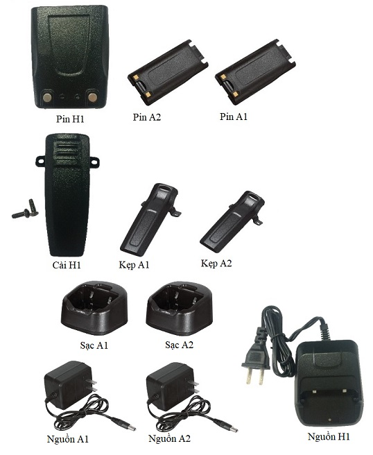 Batteries, clamps, chargers, power supplies for HYPERSIA radios