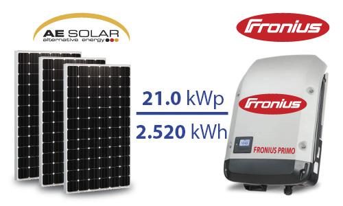 Hệ thống điện mặt trời hòa lưới 21,0 kW 03 pha Pin AE Solar 415W ( Đức )