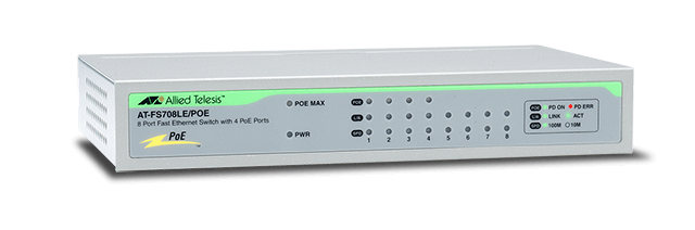 8-port 10 / 100TX Unmanaged PoE Switch ALLIED TELESIS AT-FS708LE / POE